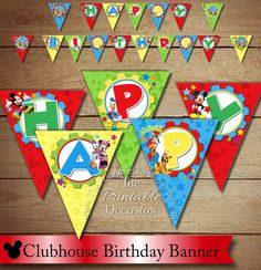 INSTANT DOWNLOAD Mickey Mouse Toodles Happy Birthday Pennant Banner, Printable Mickey Mouse Banner, Minnie Mouse Donald Duck Daffy Duck on Etsy, $7.00