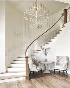 At our first meeting with our darling client we talked about her vision for a curved staircase in the entryway. Love how this turned out! House Design, Staircase Decor, Home Stairs Design, Home, Curved Staircase, Foyer Decorating, House Staircase, House Interior, Home Interior Design