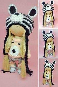 Fabric doll toy Tilda doll Interior doll Art doll blonde aqua colors soft doll Cloth doll handmade doll Love doll