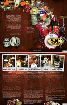 Brochure design and layout for SJC Custom Drums ([link]) Design by Oliver Barrett SJC Drums Brochure Creative Brochure, Brochure Design, Brochure Holders, Leaflet Design, Grid Layouts, Flyer, Editorial Design, Mind Blown, Layout Design