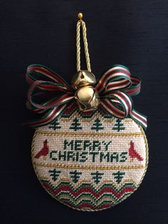 Bells & Bows for this needlepoiunt ornament
