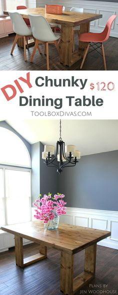 DIY modern dining table. Inexpensive with and budget friendly.  Get the look of high end furniture store for less. @ToolboxDivas #Toolboxdivas #Doityourself #table #Diningtable  via @Toolboxdivas