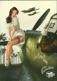 Romain Hugault knows how to make beautiful planes and women. Love her dress. #pinup #romainhugault