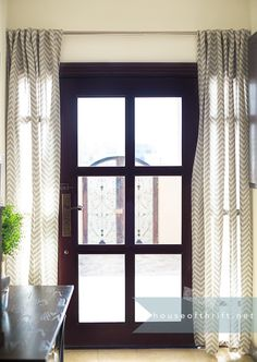 "Chevron burlap drapes to cover the sidelights and give privacy at night | Only $16.00 for these 96"" drapes at Hobby Lobby! 