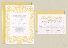 Yellow Wedding Invitation. Inspiration for Mobella Events. Wedding Planners Orlando. www.MobellaEvents.com