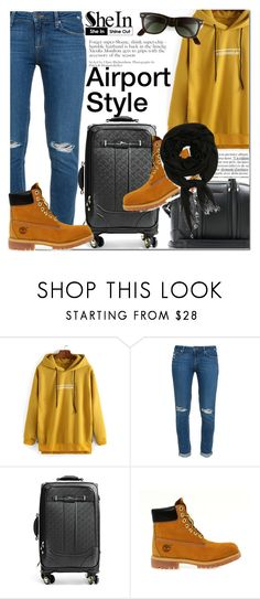 """""""Shein Yellow Hooded Letters Print Sweatshirt"""" by fattie-zara ❤ liked on Polyvore featuring Paige Denim, GUESS and Timberland"""