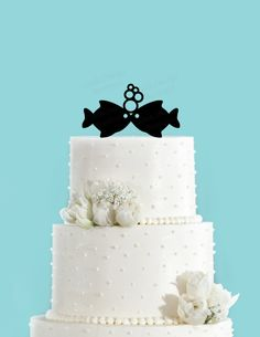 Fish Kissing Two Less In The Sea Nautical Summer Beach Wedding Acrylic Cake Topper