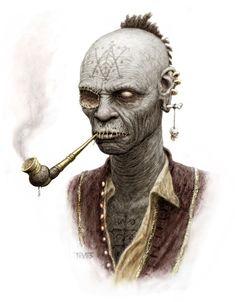 Pipe smoking zombie pirate