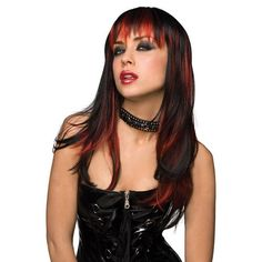 Achieve rockstar fame with this sexy two-toned black and red vixen wig with front bangs and soft curls on the ends. Black And Red Vixen Rockstar Wig, Black and Red Rocker Wig, Sexy Black and Red Wig Costume Wigs, Cosplay Wigs, Red Rocker, Halloween Wigs, Halloween Makeup, Red Wigs, Cheap Wigs, Red Highlights, Wigs For Sale