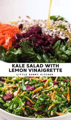 Kale Salad Recipes, Salad Recipes For Dinner, Veggie Recipes, Vegetarian Recipes, Delicious Salad Recipes, Recipes With Kale, Simple Salad Recipes, Kale Apple Salad, Kale Chicken Salad
