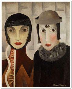 Claire-Fargue Claire FARGUE  (Née en Russie, active dès 1921 à Paris)  Deux têtes, 1921 Huile sur toile 00 x 81 cm