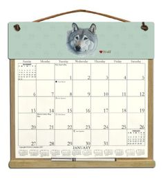Wooden Refillable Wall Calendar Holder filled with a 2015 calendar and an order form for 2016-GRAY WOLF $26.00  Kim's Calendars http://smile.amazon.com/dp/B002XDEOZE/ref=cm_sw_r_pi_dp_hVpDub1YKA1PZ