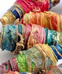 8 mixed media textile art fiber beads hand by CAROLYNSAXBYTEXTILES, £8.00