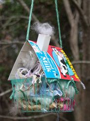 Scraps for the birds to use in nests. I always put dryer lint and dog hair our for the birds to make nests...this is a cute way to do that!