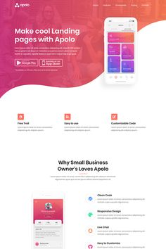 About ApoloApolo - App Landing Page Template is fully responsive and mobile friendly app showcase HTML template. You can also use it for multipurpose website. Best Landing Page Design, Landing Page Examples, Best Landing Pages, Web Design Examples, Flat Web Design, App Design, Mobile Design, Page Layout Design, Website Design Layout