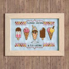 "Can you feel the heat? Remind yourself of those Summer dreams with this sweet stitch of ice cream cones, ice lollies and a tasty ice cream sundae. Featuring the classic selection of chocolate, vanilla and strawberry, theres a flavour for everyone! ☆ Please note: this product is an instant download pattern, not a finished piece ☆ - Recommended fabric: 18 count in Pale Blue - Number of stitches (W x H): 82 x 63 - Finished stitched area (W x H): 4-1/2"" x 3-1/2"" (11.6cm x 8.9cm) - Num..."