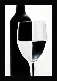 abstract wine bottle & glass