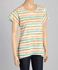 Another great find on #zulily! Coral Stripe Tunic #zulilyfinds