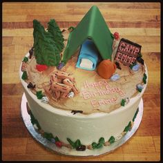 Camping Birthday Cake! PaigesBakehouse.com