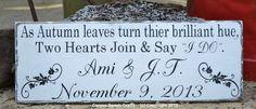 Fall Wedding Sign - Fall Wedding - Autumn - Rustic - Decor - Personalized - Custom - Black  White - Photo Prop - Reception Decor