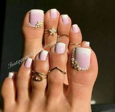 Ombre pink and white toe nails