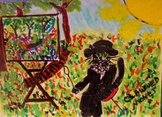 """""""Clawwed Monet"""" ACEO ArtistoCat Series Cat-toon Claude Monet, Artists & Cats  Claude Monet (catified), at work in the plein-aire! sold"""