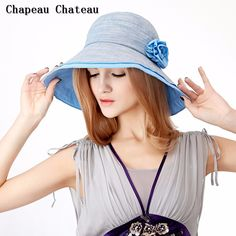 Aliexpress.com : Buy Chapeau Chateau Women's Cotton Sun Hat Summer with Big Fold up Brim Blue/Beige Bucket Hat from Reliable summer baby hat suppliers on Chapeau Chateau | Alibaba Group