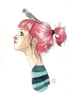 Esther Gili - PÁJAROS EN LA CABEZA #Illustration #Art #Girl