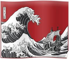 48ea1f9c55c0 RED The Great Wave Poster. Redbubble. Great Wave Off Kanagawa ...