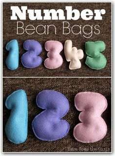 Oooh there are so many ways I could use these homemade number bean bags. They would be great for counting activities.