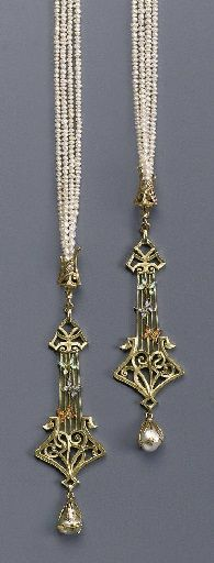 AN IMPORTANT ART NOUVEAU PEARL AND ENAMEL BAYADÉRE, BY GEORGES FOUQUET. Composed of four strands of seed pearls terminating in two gold openwork pendants with scroll foliage and harp-shaped motifs, central moss green translucent enamel, three butterflies with blue, orange and green foiled enamels, supporting a baroque pearl within a gold wire frame, 80.0 cm long, signed G. Fouquet.