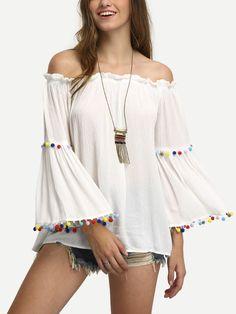 Blusa hombro al aire manga larga -blanco-Spanish SheIn(Sheinside)