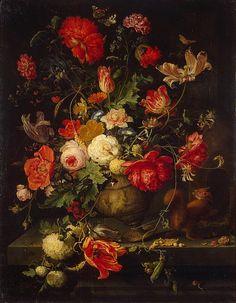 Vase of Flowers-Abraham Mignon