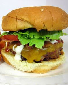BBQ Ranch Burgers - loaded with BBQ, Ranch & Cheddar cheese!