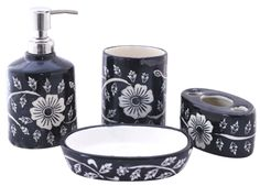Bulk Wholesale Handmade Ceramic BathAccessories Set (4 Items) – Hand-Painted Blue & White Floral Bath Ensemble / Vanity Set