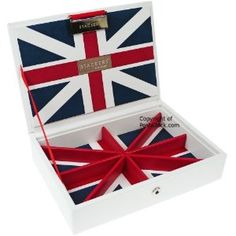 Union Jack mini Stackers Jewelry Box Top Lidded Tray Storage for Charms Beads Earrings & Chains