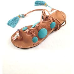 """Womens Leather Sandals """"Teodore"""" Tie Up Handmade Sandals, Boho... (€105) via Polyvore featuring shoes, sandals, boho shoes, leather shoes, real leather shoes, summer shoes and tie sandals"""