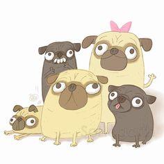 Pug family #pugs #illustration More