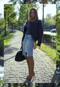 Mango Biker Leather Jacket, Zara Distressed Denim Pencil Skirt