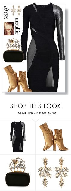 """""""Untitled #302"""" by maylamartha on Polyvore featuring Hervé Léger, Gianvito Rossi, Alexander McQueen and Oscar de la Renta"""