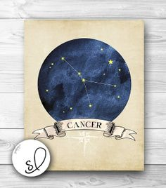 CANCER Zodiac Constellation Print Vintage Inspired by SpoonLily, $5.00