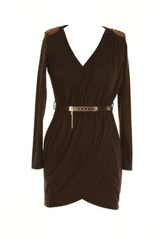 Striking black wrap shaped dress with deep v-neck and statement shoulder detailing. Belt Included.