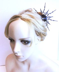 Gothic clock hand hair comb Steampunk Victorian inspired Hair Comb black Goth hair Ornament- She walks in beauty
