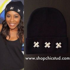 Studded Beanie Black or Gray Beanie Hat Triple by ShopChicStud