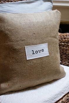 burlap pillow by Pmarie