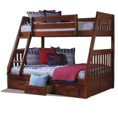 Bunk bed full desk twin with
