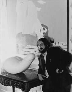 Stanley Kubrick on the set of A Clockwork Orange, with Herman Makkink's Rocking Machine.