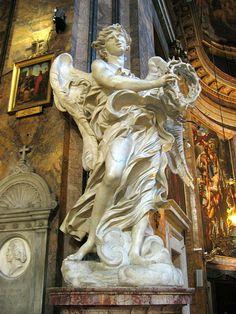 Guide To Free Art in Rome Sculpture Du Bernin, Bernini Sculpture, Baroque Sculpture, Day Trips From Rome, Gian Lorenzo Bernini, Cemetery Angels, Italian Baroque, I Believe In Angels, Art Antique