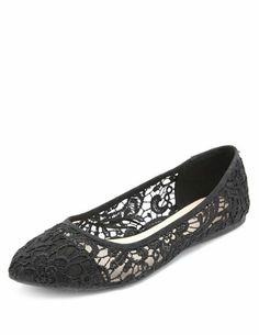 Embroidered Lace Pointy Toe Ballet Flats: Charlotte Russe