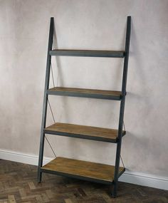 Baxter Industrial Shelving Design With Sloping Leaning Ladder Shelf On The Walls And Four Levels Of Wood For Shelves of Unique Awesome For Metal And Wood Bookcase Designs from Furniture Ideas